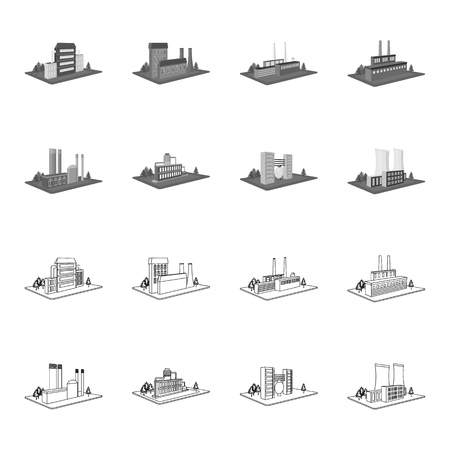 Processing factory,metallurgical plant. Factory and industry set collection icons in outline,monochrome style isometric bitmap symbol stock illustration . Фото со стока