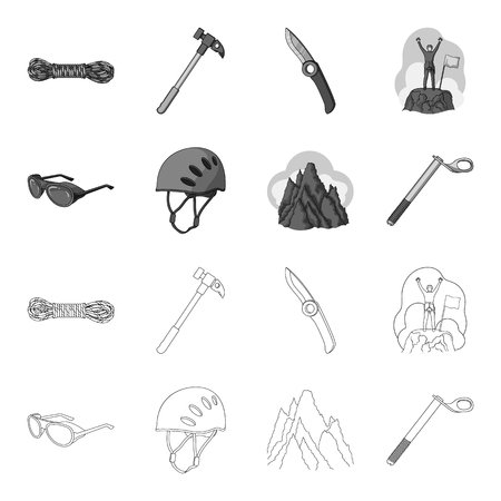 Helmet, goggles, wedge safety, peaks in the clouds.Mountaineering set collection icons in outline,monochrome style bitmap symbol stock illustration .