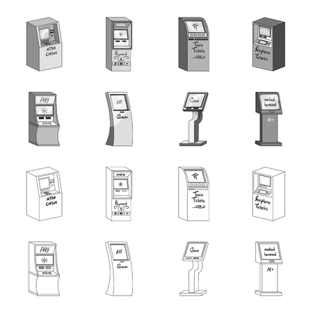 Medical terminal, ATM for payment,apparatus for queue. Terminals set collection icons in outline,monochrome style isometric bitmap symbol stock illustration  .