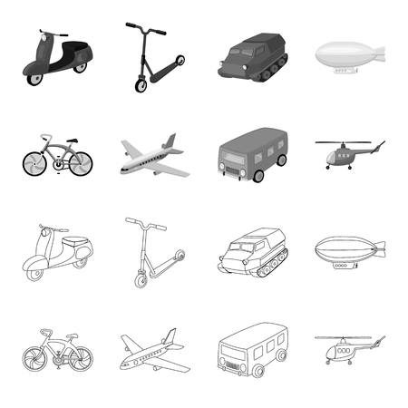 Bicycle, airplane, bus, helicopter types of transport. Transport set collection icons in outline,monochrome style bitmap symbol stock illustration . Archivio Fotografico - 106393958