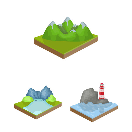 Mountains, massive cartoon icons in set collection for design. The surface of the earth vector isometric symbol stock web illustration. Иллюстрация