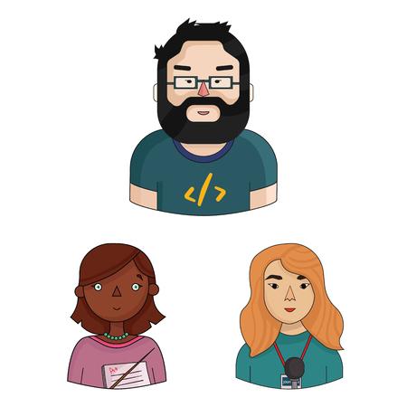 Personas de diferentes profesiones, dibujos animados, iconos de colección set de diseño. Trabajador y especialista vector símbolo stock ilustración web. Ilustración de vector