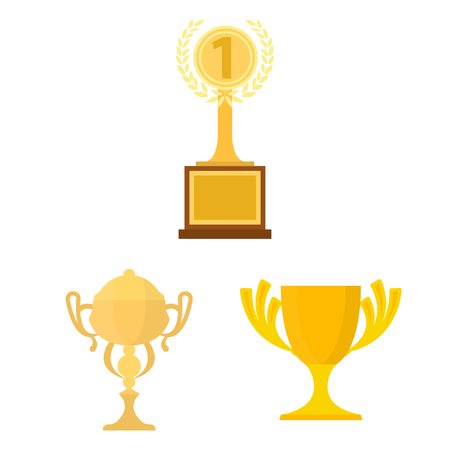 Gold Cup cartoon icons in set collection for design. Winners Cup vector symbol stock web illustration. 일러스트