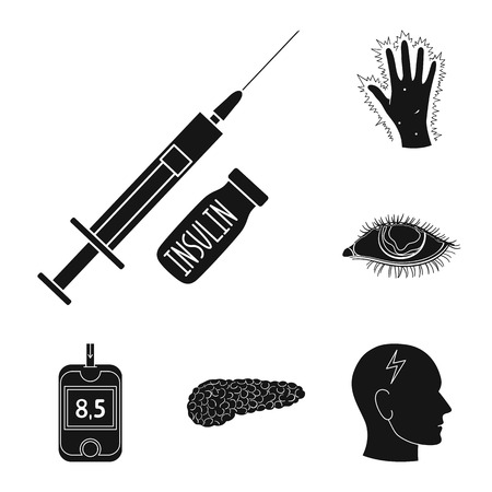 Diabetes black icons in set collection for design. Treatment of diabetes vector symbol stock web illustration.