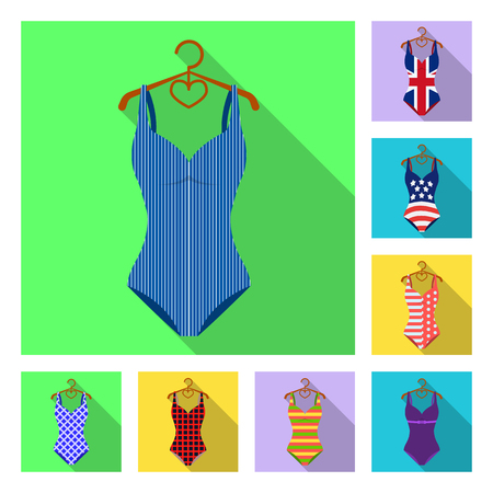 Different types of swimsuits flat icons in set collection for design. Swimming accessories vector symbol stock web illustration.