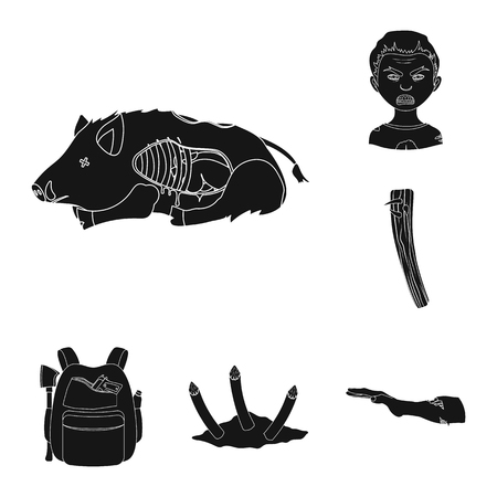 Zombies and Attributes black icons in set collection for design. Dead man vector symbol stock web illustration.