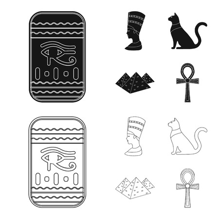 Eye of Horus, black Egyptian cat, pyramids, head of Nefertiti.Ancient Egypt set collection icons in black,outline style vector symbol stock illustration web.