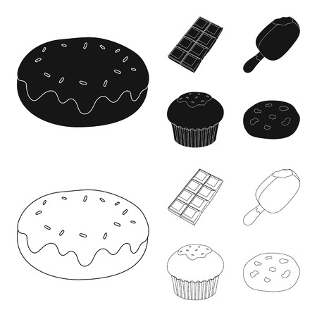 Donut with chocolate, zskimo, shokolpada tile, biscuit.Chocolate desserts set collection icons in black,outline style vector symbol stock illustration web. Illustration