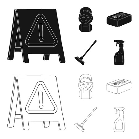 Cleaning and maid black,outline icons in set collection for design. Equipment for cleaning vector symbol stock web illustration.
