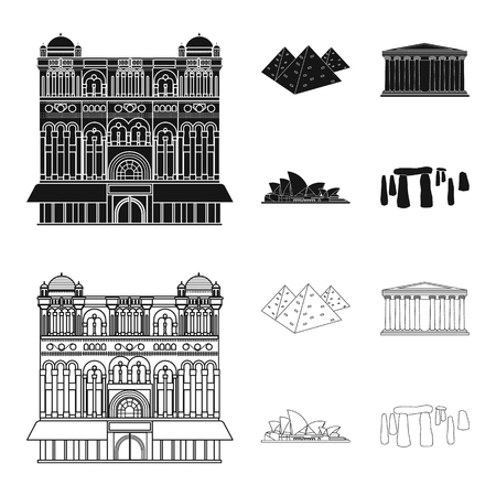 Sights of different countries black,outline icons in set collection for design. Famous building vector symbol stock web illustration.