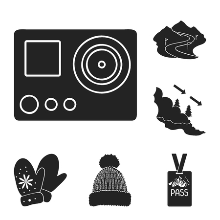 Ski resort and equipment black icons in set collection for design. Entertainment and recreation vector symbol stock web illustration. Stock fotó - 106453511