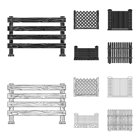A fence of metal and bricks,wooden palisade. A different fence set collection icons in black,outline style vector symbol stock illustration web.
