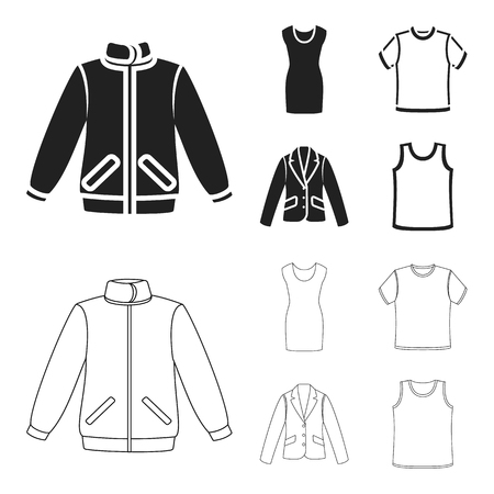 A mans jacket, a tunic, a T-shirt, a business suit. Clothes set collection icons in black,outline style vector symbol stock illustration web. Ilustrace