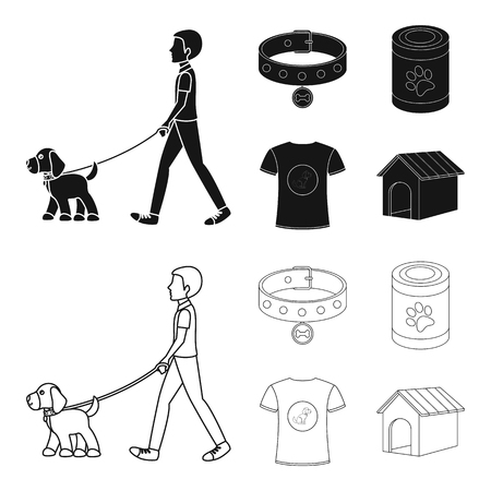 A man walks with a dog, a collar with a medal, food, a T-shirt I love dog.Dog set collection icons in black,outline style vector symbol stock illustration web.