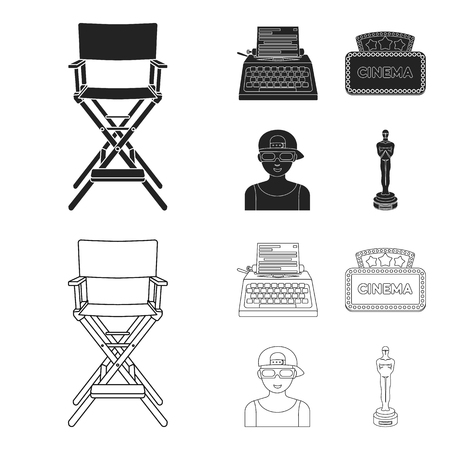 Chair of the director, typewriter, cinematographic signboard, film-man. Films and cinema set collection icons in black,outline style vector symbol stock illustration web.