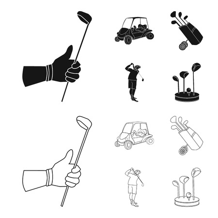 A gloved hand with a stick, a golf cart, a trolley bag with sticks in a bag, a man hammering with a stick. Golf Club set collection icons in black,outline style vector symbol stock illustration web. 일러스트