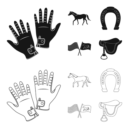 Race, track, horse, animal .Hippodrome and horse set collection icons in black,outline style vector symbol stock illustration web. 向量圖像