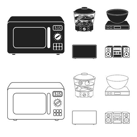 Vaporizador, horno microondas, balanzas, tv lcd. El hogar establece los iconos de la colección en negro, web de contorno estilo vector símbolo stock de ilustración.