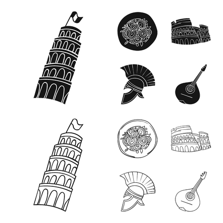 Pisa tower, pasta, coliseum, Legionnaire helmet.Italy country set collection icons in black,outline style vector symbol stock illustration web.