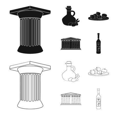 Greece, country, tradition, landmark .Greece set collection icons in black,outline style vector symbol stock illustration web.