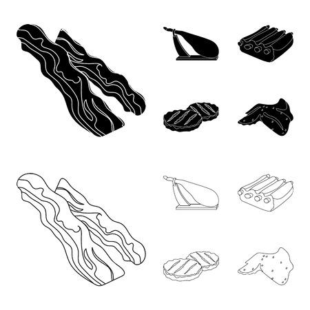 Spek, jamon, varkensribbetjes, gebakken schnitzels. Vlees collectie iconen in zwart, overzicht stijl vector symbool stock illustratie web instellen.