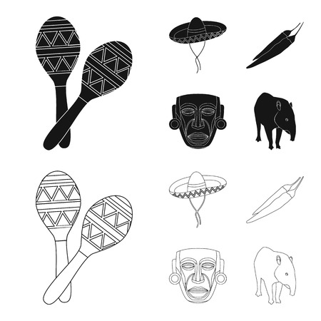 Maracas national musical instrument, sambrero traditional Mexican headdress, red pepper, bitter, idol-deity.Mexico country set collection icons in black,outline style vector symbol stock illustration web.