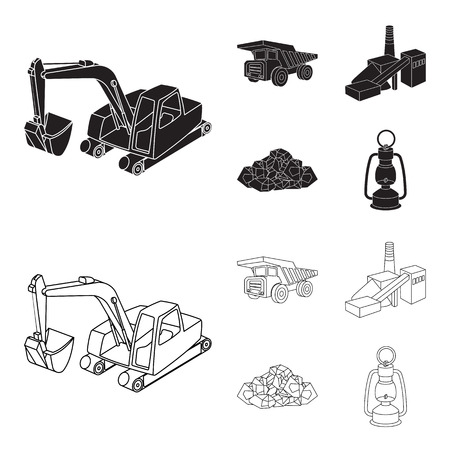 Excavator, dumper, processing plant, minerals and ore.Mining industry set collection icons in black,outline style vector symbol stock illustration web.