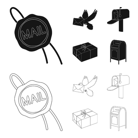 Wax seal, postal pigeon with envelope, mail box and parcel.Mail and postman set collection icons in black,outline style vector symbol stock illustration web. Stock Illustratie