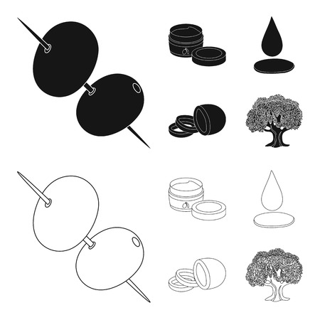 Olives on skewers. A piece of black olives, a jar of cream, a drop of oil. Olives set collection icons in black,outline style vector symbol stock illustration web. Vectores