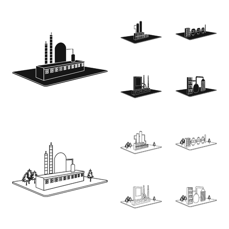 Processing factory,metallurgical plant. Factory and industry set collection icons in black,outline style isometric vector symbol stock illustration web.