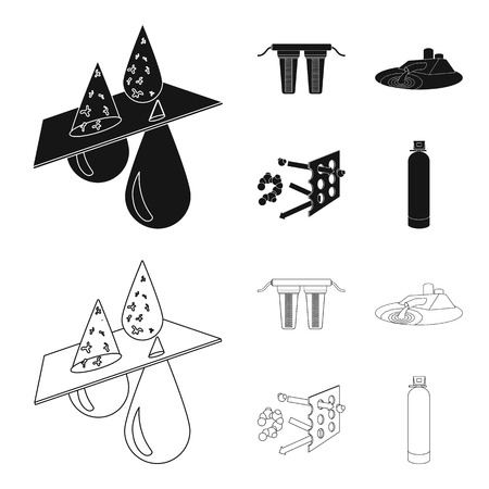 Filter, filtration, nature, eco, bio .Water filtration system set collection icons in black,outline style vector symbol stock illustration web. Ilustración de vector