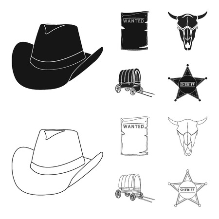 Cowboy hat, is searched, cart, bull skull. Wild West set collection icons in black,outline style vector symbol stock illustration web.