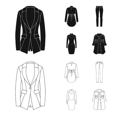 Women Clothing black,outline icons in set collection for design.Clothing Varieties and Accessories vector symbol stock web illustration.
