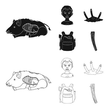 Zombies und Attribute schwarz, Umrissikonen in der Set-Sammlung für Design. Totmann Vektorsymbol stock web Illustration. Vektorgrafik
