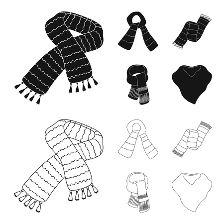 Various kinds of scarves, scarves and shawls. Scarves and shawls set collection icons in black,outline style vector symbol stock illustration web.