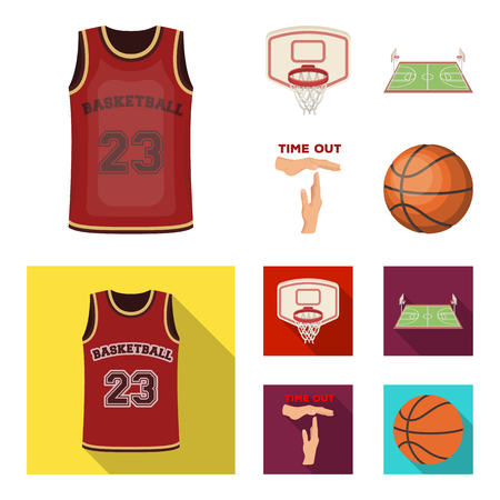 Basketball and attributes cartoon,flat icons in set collection for design.Basketball player and equipment vector symbol stock web illustration.