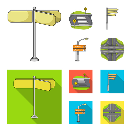 Direction signs and other web icon in cartoon,flat style.Road junctions and signs icons in set collection.
