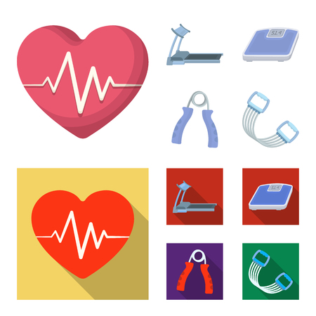Treadmill, scales, expander and other equipment for training.Gym and workout set collection icons in cartoon,flat style vector symbol stock illustration web.