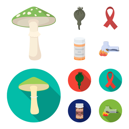 AIDS tape, tablets, opium poppy, a tube for hashish.Drug set collection icons in cartoon,flat style vector symbol stock illustration web.