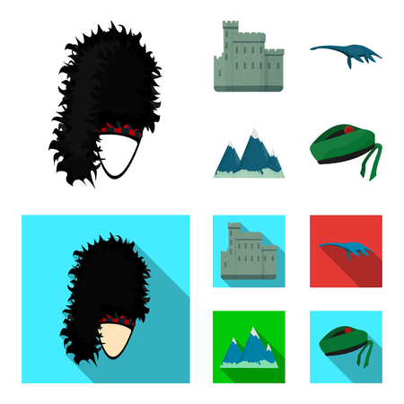Edinburgh Castle, Loch Ness Monster, Grampian Mountains, national cap balmoral,tam shanter. Scotland set collection icons in cartoon,flat style vector symbol stock illustration web.