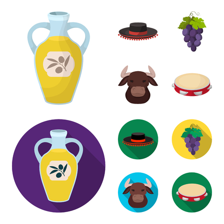 The hat of the todeador, the matador, a bunch of grapes with fists, a bull for the Spanish bullfight, a tambourine. Spain country set collection icons in cartoon,flat style vector symbol stock illustration web.