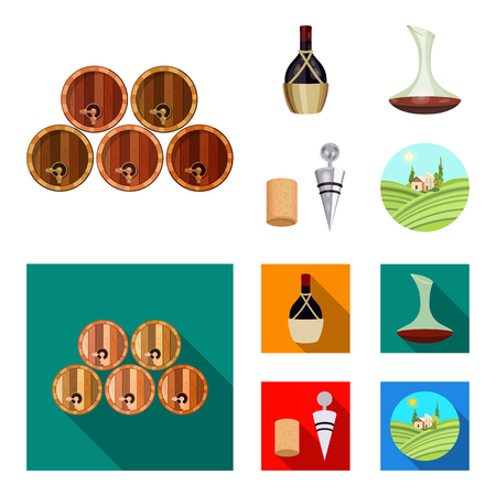 A bottle of wine in a basket, a gafine, a corkscrew with a cork, a grape valley. Wine production set collection icons in cartoon,flat style vector symbol stock illustration web. Foto de archivo - 106456359
