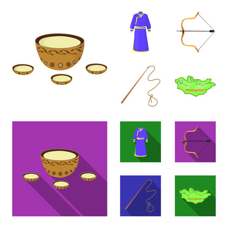 .mongol dressing gown, battle bow, theria on the map, Urga, Khlyst. Mongolia set collection icons in cartoon,flat style vector symbol stock illustration web.