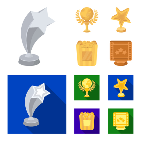 A gold prize in the form of a star, a gold globe and other prizes.Movie awards set collection icons in cartoon,flat style vector symbol stock illustration web.