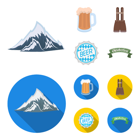 Shorts with suspenders, a glass of beer, a sign, an emblem. Oktoberfest set collection icons in cartoon,flat style vector symbol stock illustration web.