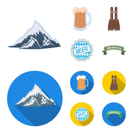 Pantaloncini con bretelle, un bicchiere di birra, un cartello, un emblema. Oktoberfest impostata icone dell'accumulazione in fumetto, piatto stile vettoriale simbolo illustrazione stock web.