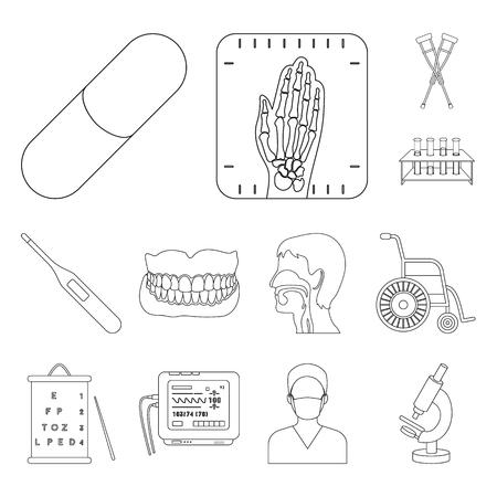 Medicina y tratamiento, iconos de contorno de colección set de diseño. Ilustración de stock de símbolo de vector de medicina y equipo.