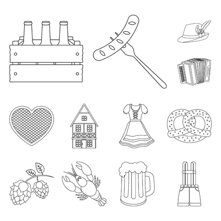 October festival in Munich outline icons in set collection for design.Tradition and fun vector symbol stock web illustration. Stok Fotoğraf - 106456369