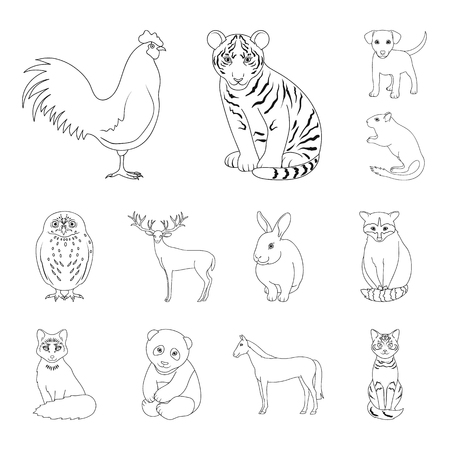 Realistic animals outline icons in set collection for design. Wild and domestic animals vector symbol stock web illustration. Banque d'images