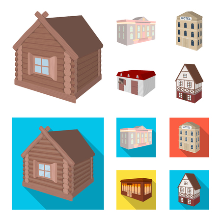 The museum building, a three-story hotel, a stable at the racecourse, a residential cottage. Architectural and building set collection icons in cartoon,flat style vector symbol stock illustration web.